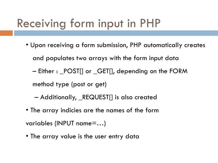 Receiving form input in PHP