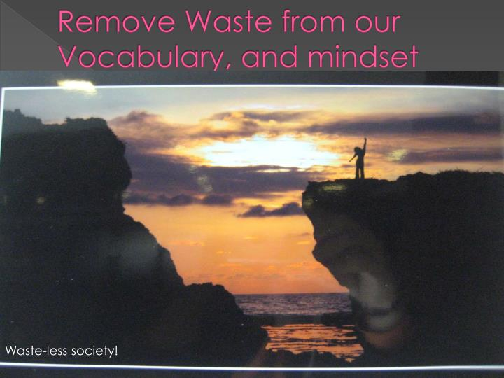 Remove Waste from our Vocabulary, and mindset