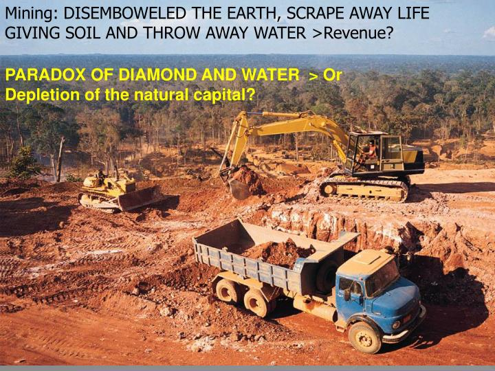 Mining: DISEMBOWELED THE EARTH, SCRAPE AWAY LIFE GIVING SOIL AND THROW AWAY WATER >Revenue?