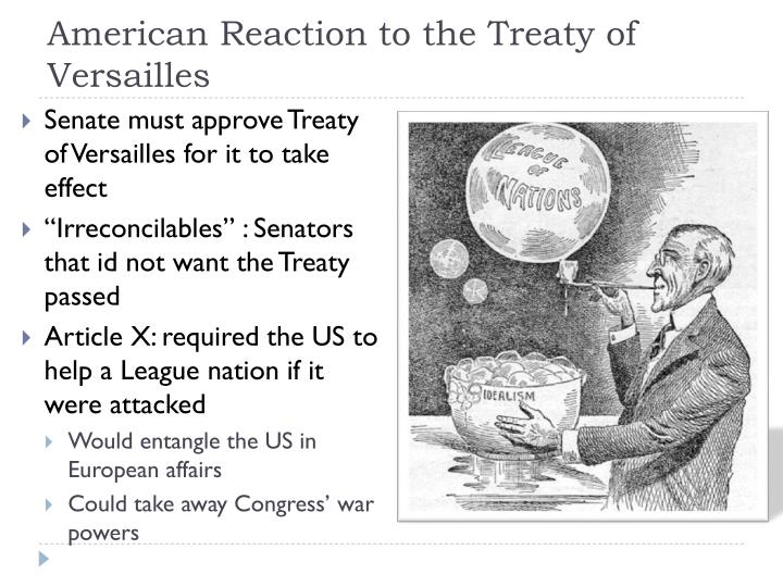American Reaction to the Treaty of Versailles