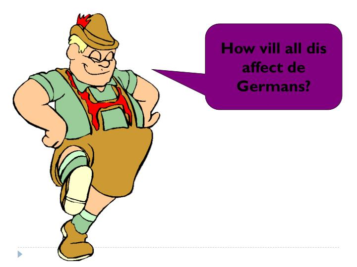 How vill all dis affect de Germans?