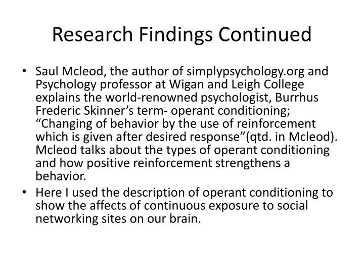 Research Findings Continued
