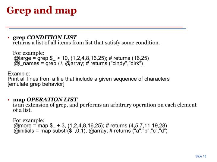 Grep and map