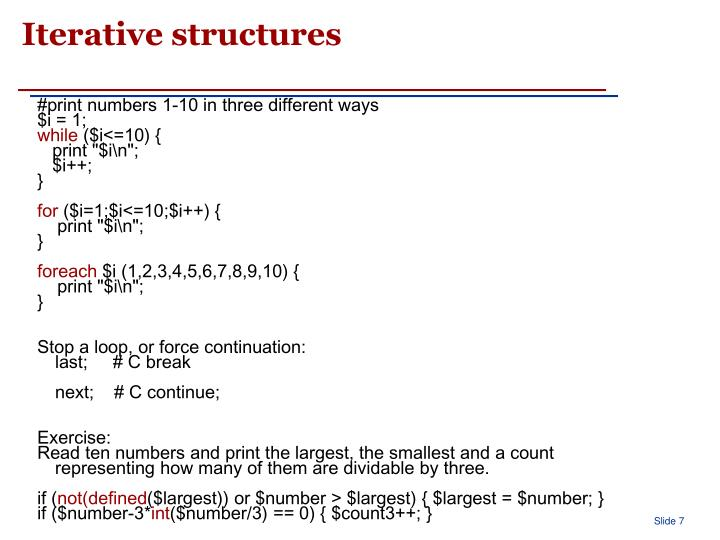 Iterative structures