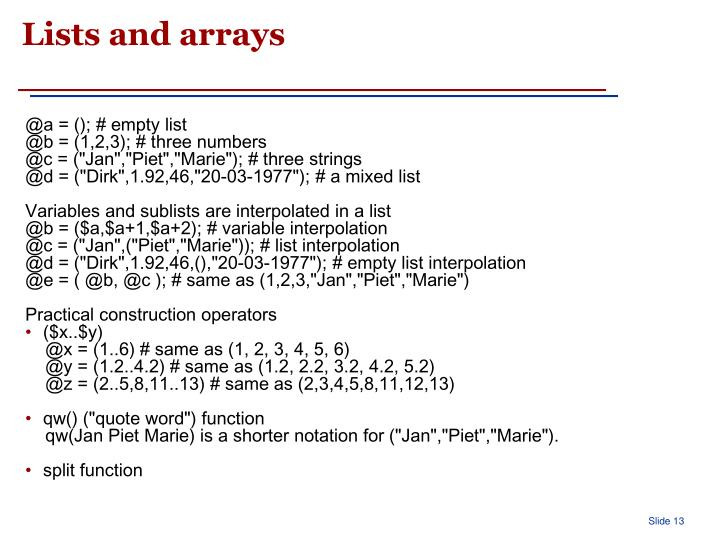 Lists and arrays