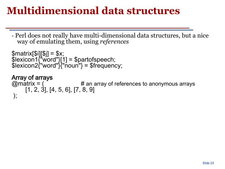 Multidimensional data structures