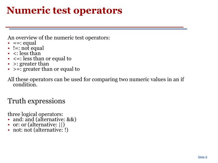 Numeric test operators
