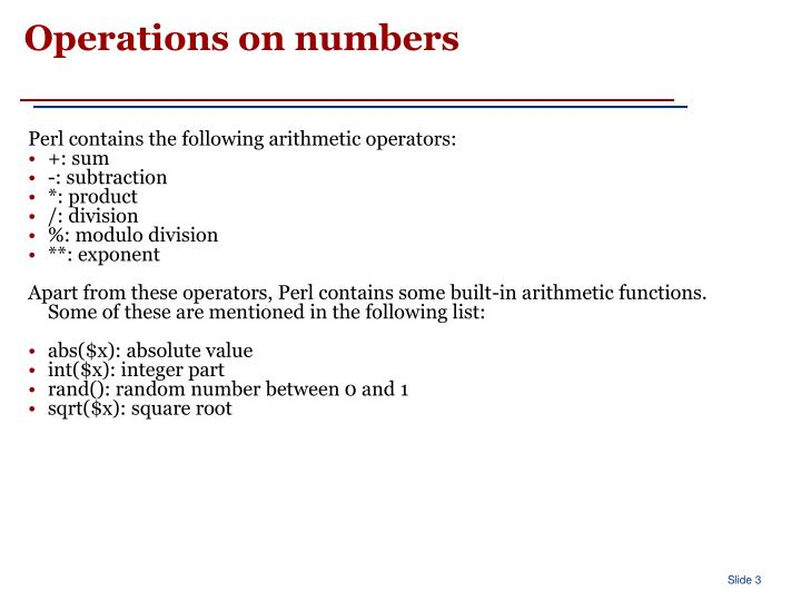 Operations on numbers