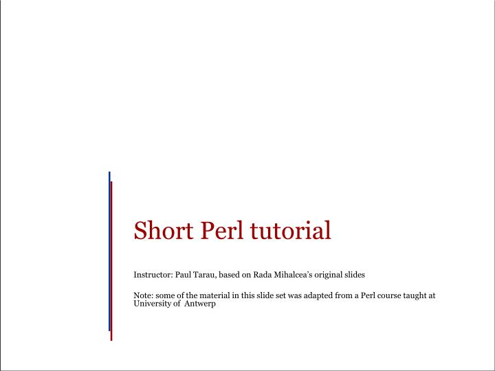 Short Perl tutorial