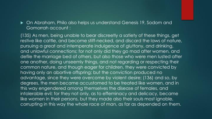 On Abraham, Philo also helps us understand Genesis 19, Sodom and Gomorrah account :