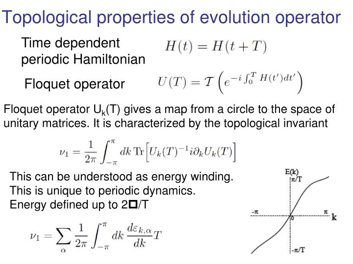 Topological properties of evolution operator