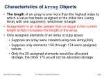 characteristics of array objects