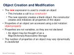 object creation and modification