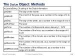 the date object methods