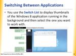 switching between applications