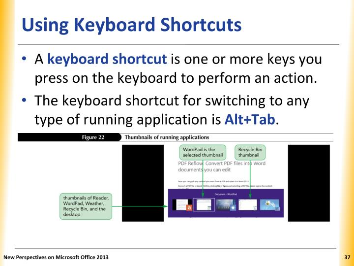 Using Keyboard Shortcuts