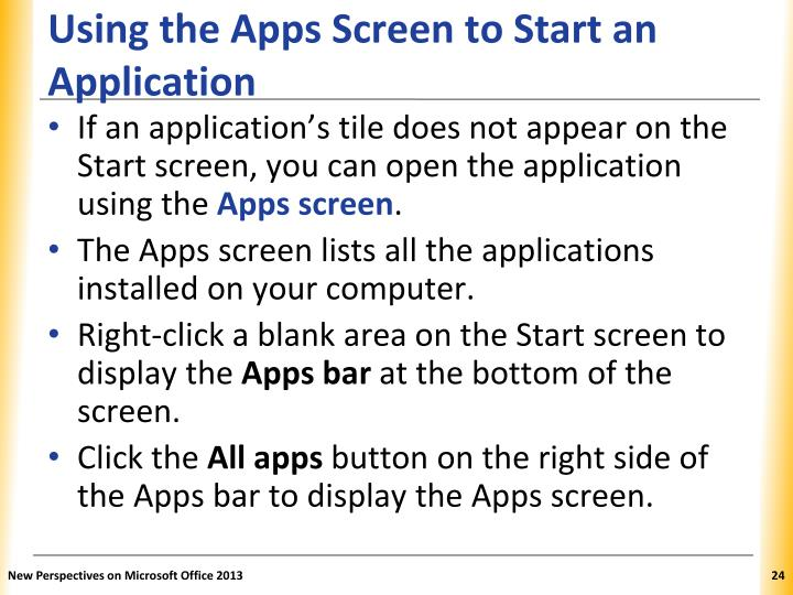 Using the Apps Screen to Start an Application