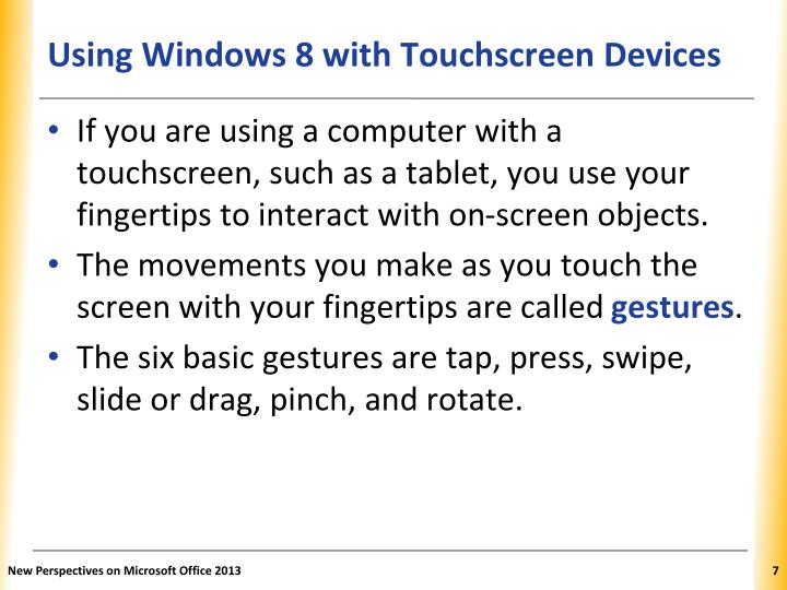 Using Windows 8 with Touchscreen Devices