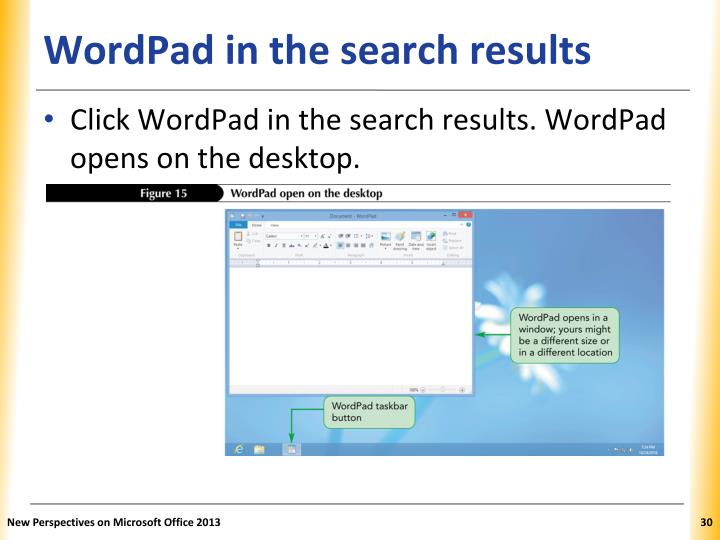 WordPad in the search results