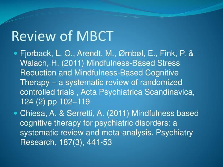Review of MBCT