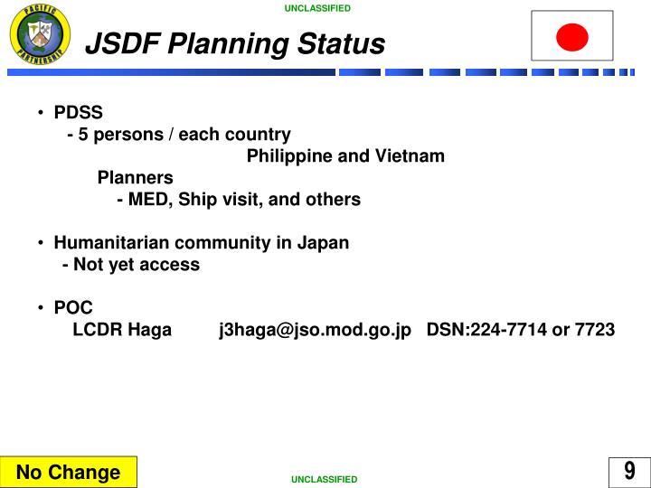 JSDF Planning Status