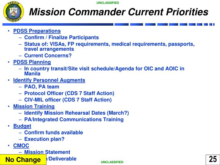 Mission Commander Current Priorities