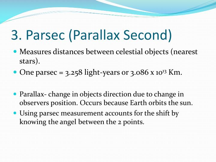 relationship between parallax and parsecs to kilometers