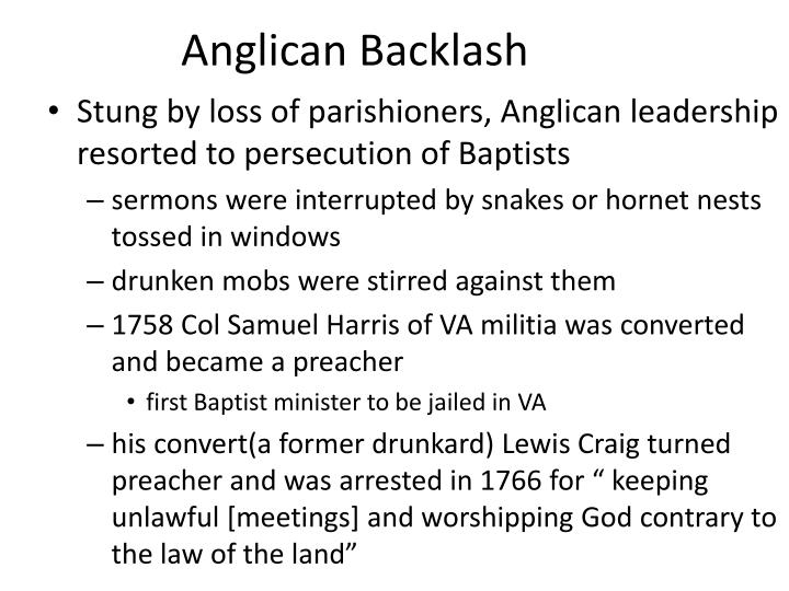 Anglican Backlash