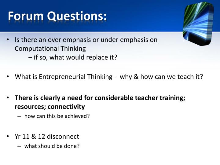 Forum Questions: