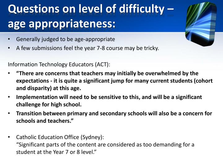 Questions on level of difficulty – age appropriateness: