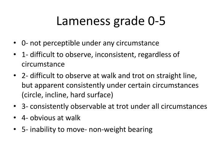 Lameness grade 0-5
