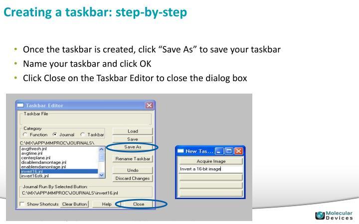 Creating a taskbar: step-by-step
