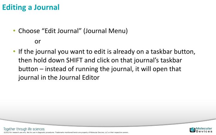 Editing a Journal