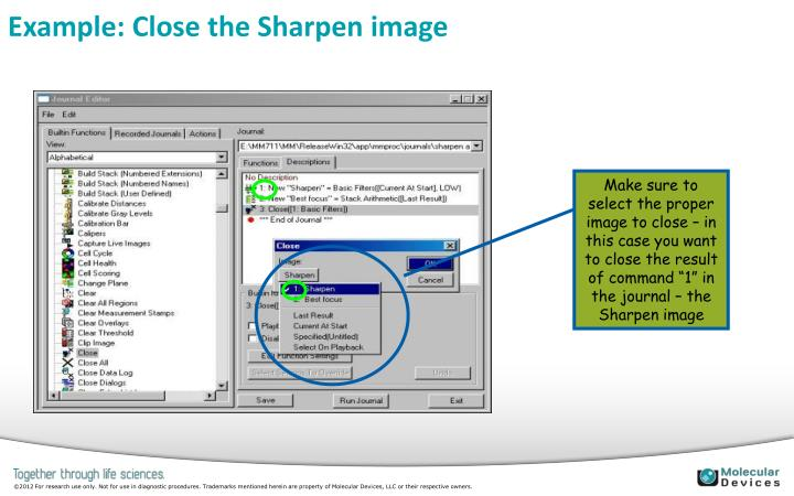 Example: Close the Sharpen image