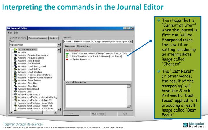 Interpreting the commands in the Journal Editor