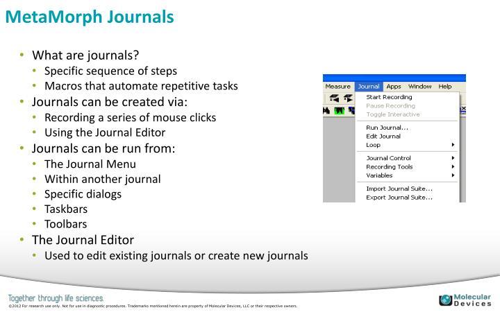 MetaMorph Journals