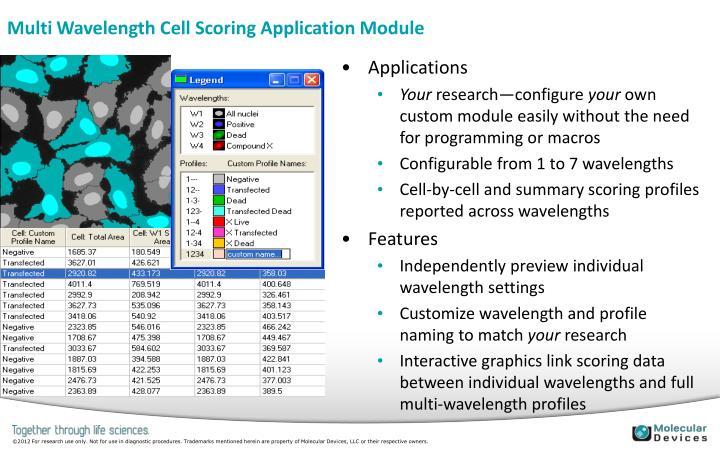 Multi Wavelength Cell Scoring Application Module