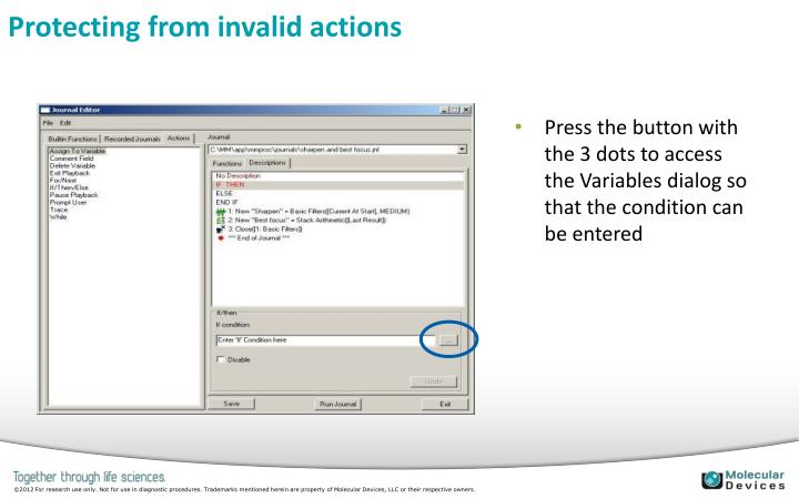 Protecting from invalid actions