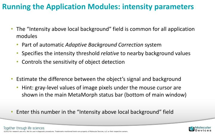 Running the Application Modules: intensity parameters