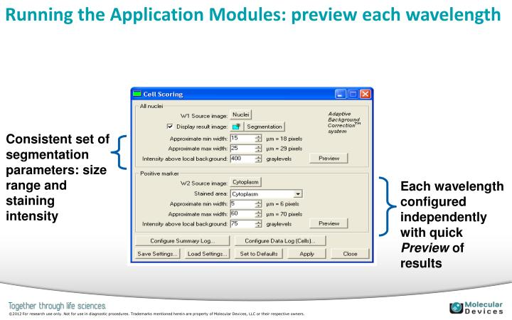 Running the Application Modules: preview each wavelength