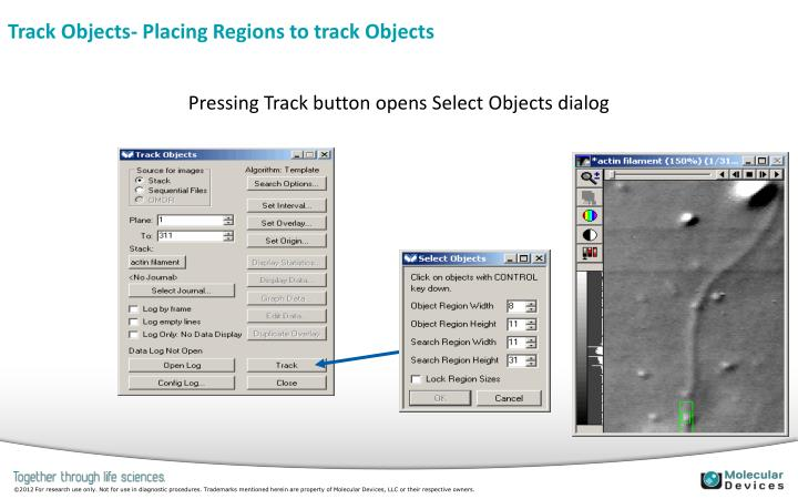 Track Objects- Placing Regions to track Objects