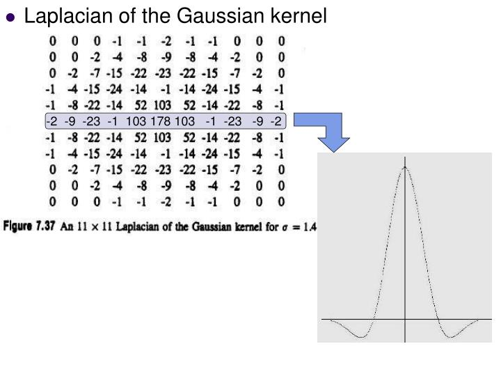 Laplacian of the Gaussian kernel