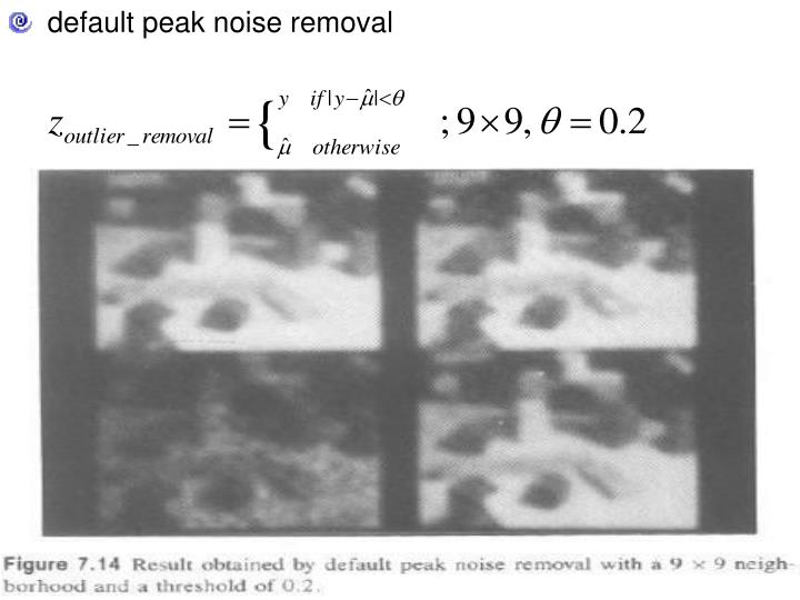 default peak noise removal