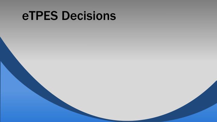 eTPES Decisions