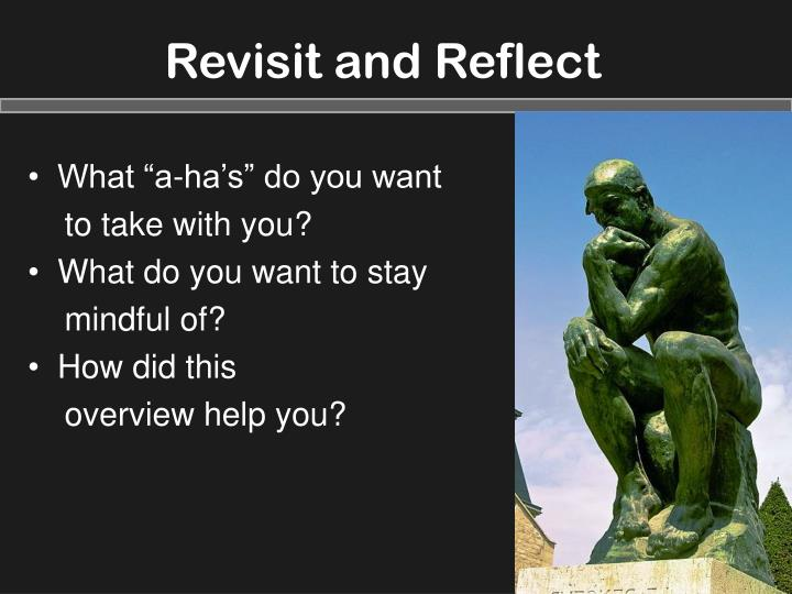 Revisit and Reflect