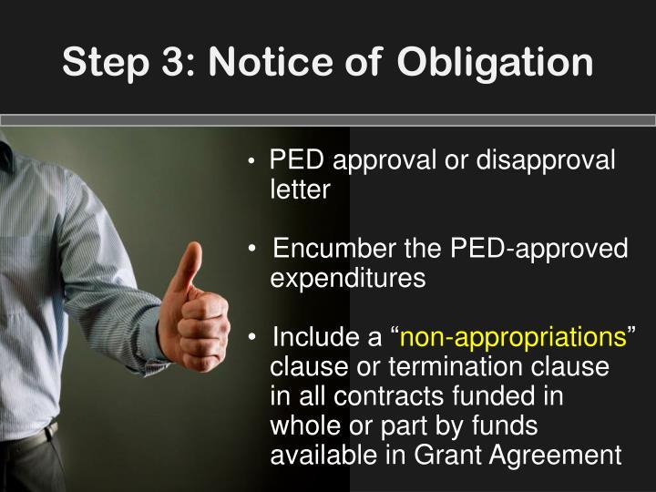 Step 3: Notice of Obligation