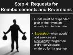 step 4 requests for reimbursements and reversions2