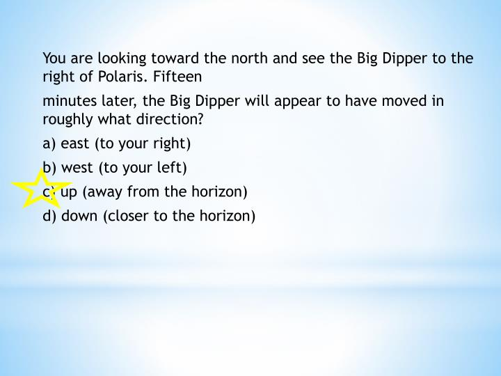 You are looking toward the north and see the Big Dipper to the right of Polaris. Fifteen