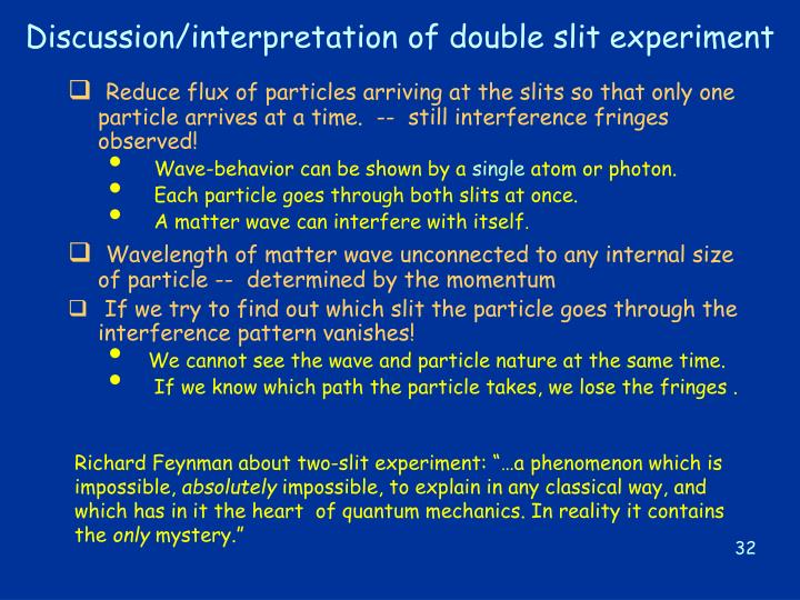 Discussion/interpretation of double slit experiment