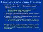 discussion interpretation of double slit experiment